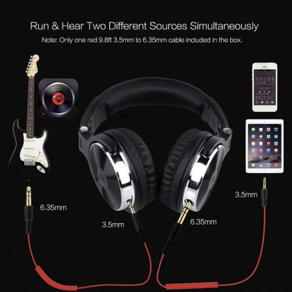 OneOdio Pro 10 Over Ear DJ Headphones Stereo Monitor Professional Studio Monitor & Mixing, Telescopic Arms with Scale, Newest 50mm Neodymium Drivers