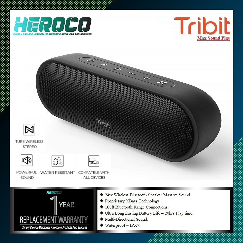Tribit Maxsound Plus Portable Bluetooth Speaker 24w Wireless Speaker With Powerful Louder Sound Exceptional Xbass Ipx7 Waterproof 20 Hour Playtime 100ft Bluetooth Range For Party Travel Outdoor