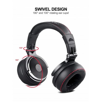 OneOdio Pro 50 Adapter-Free DJ Headphones for Studio Monitoring and Mixing,Sound Isolation, 90° Rotatable Housing with Top Protein Leather Earcups, 50mm Driver Unit Over Ear DJ Headsets with Mic