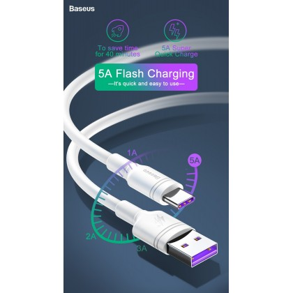Baseus 5A USB Type C For Huawei Mate 20 P30 P20 Pro Lite With Type-C Super Charge Cable