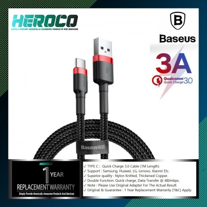 Baseus QC 3.0 3A Fast Charging USB Type C Data Sync Cable - Samsung S10 S9 S8 Note 9