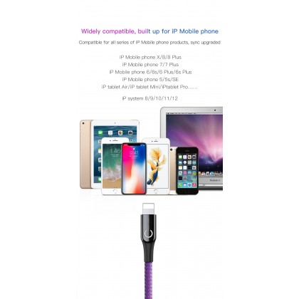 Baseus LED USB Lighting Smart Fast Charging Data Cable-IPhone Xs Max(2.4A)
