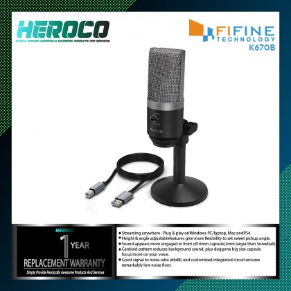 FIFINE K670 USB Microphone PC Microphone for Mac and Windows Computers,Optimized for Recording,Streaming Twitch,Voice overs,Podcasting for Youtube,Skype chats.