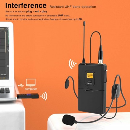 FIFINE K031B Wireless Microphones for Computer USB Wireless Microphone System for PC & Mac,Headset UHF Wireless System with USB Receiver,Transmitter,Headset and Clip Lavalier Lapel Mic