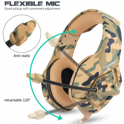 ONIKUMA K1B Camouflage Gaming Headset Compatible PS4 New Xbox one PC Mac Over Ear 3.5mm Headphones with Microphone