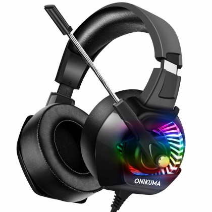 ONIKUMA K6 Stereo Gaming Headset for PC, PS4, Xbox One, Playstation Games, Noise Cancelling Headphones for Mac, Laptop, Nintendo Switch - RGB LED Lights, 7.1 Surround Sound