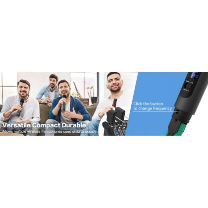 FIFINE K025 Wireless Microphone  Handheld Dynamic Microphone Wireless mic System for Karaoke Nights and House Parties to Have Fun Over the Mixer, PA System, Speakers