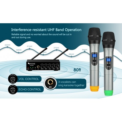 Fifine K036 UHF Dual Channel Wireless Handheld Microphone, Easy-to-use Karaoke Wireless Microphone System.