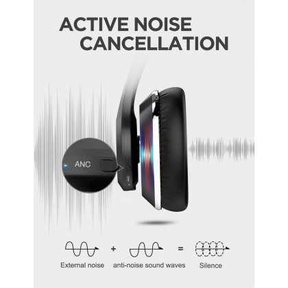 Bluetooth Headphone Wireless Active Noise Cancellation Over The Ear Headset Ausdom ANC10