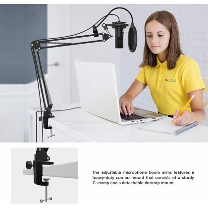 USB Computer Microphone Kit Plug & Play FIFINE  Cardioid Mic Podcast Condenser Microphone Table Stand Set T669