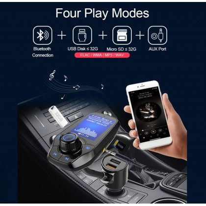 Bluetooth MP3 Player FM Transmitter Dual USB Car Quick Charge 3.0 Phone Charger