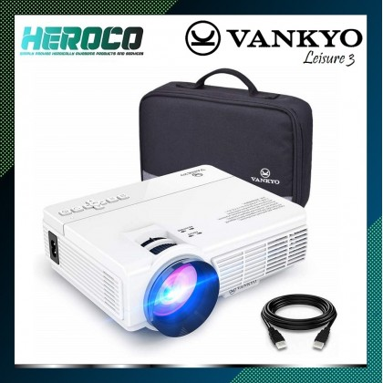 VANKYO LEISURE 3 Mini Projector 1080P 2400 Lux ,Compatible with TV Stick, PS4, HDMI, VGA, TF, AV and USB