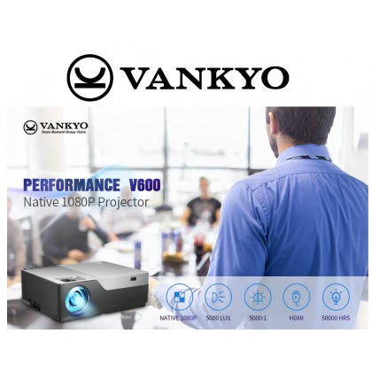VANKYO Performance V600 Native 1080P LED Projector, 5000 Lux Compatible TV Stick, HDMI, VGA, USB, Xbox, Laptop, iPhone Android for Presentation