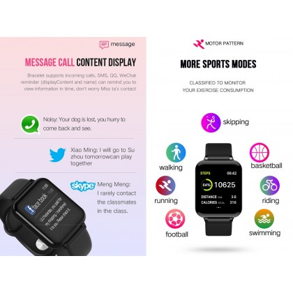 Bluetooth Smart Watch Waterproof WhatsApp Remind Heart Rate Sleep Monitor Fitness Tracker Wristband For IOS And Android SW-57C