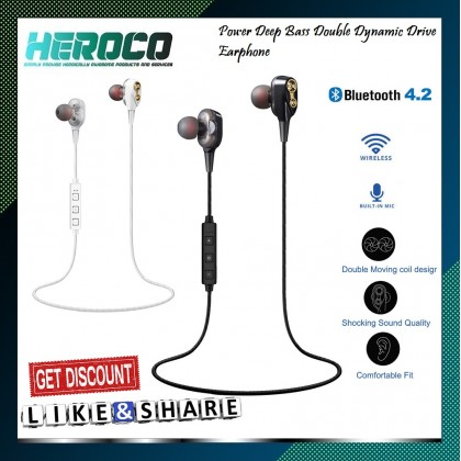 Double Dynamic Bluetooth Earphone Dual Driver with Mic Bass Headset In-Ear Stereo Speaker Wireless Sport Earbud TF Card