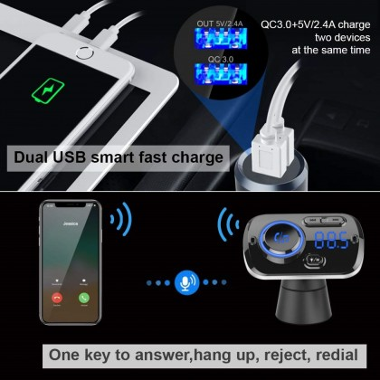 Bluetooth 5.0 Car FM Transmitter, Audio Adapter and Receiver, Hands-Free Calling, MP3 Car Charger with 2 USB Ports