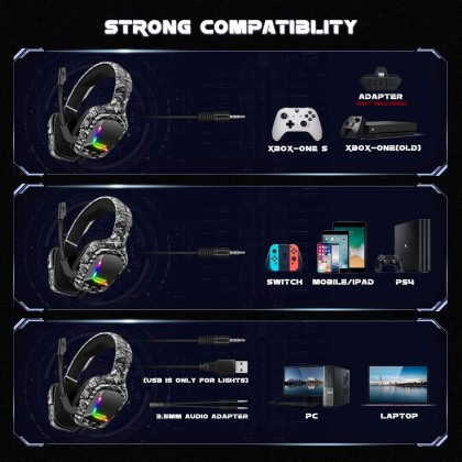 ONIKUMA K20 Gaming Headset PS4 Headset with 7.1 Surround Sound, Noise Canceling Over-Ear Headphones with Mic, Soft Memory Earmuff for PS4, PC, Xbox