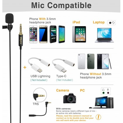 Fifine C1 Lavalier Lapel Microphone for iPhone Android Phone Cell Phone DSLR Camera,External Headset Mic