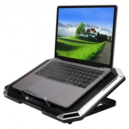 "Q8 Mute Adjustable Gaming 17"" Laptop Cooling Pad RGB Notebook 6 Fan USB Cooler Air Stand"