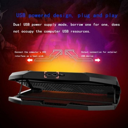 LED Laptop Cooler Cooling Pad with 3 Fans for 17'' Powerful Dual USB Laptop Cooling Pad Cooler Adjustable Height