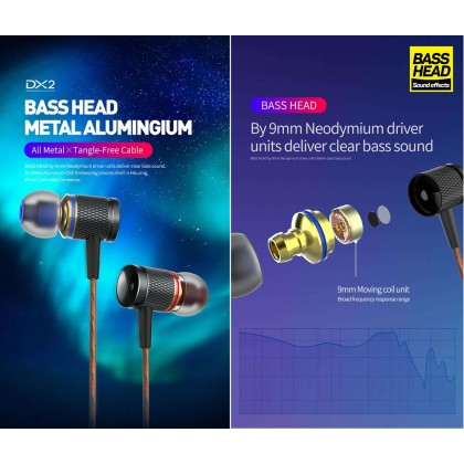 Plextone DX2 Metal Bass Head Stereo In-Ear Earbud Piston Earphone Mic Gaming Headset PUBG CS Go Fornite PS4 Xbox
