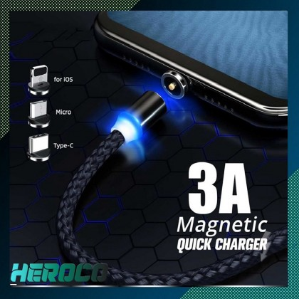 Magnetic Cable Braided LED Type C Micro USB Magnetic Usb Charging Cable for iPhone Android phones