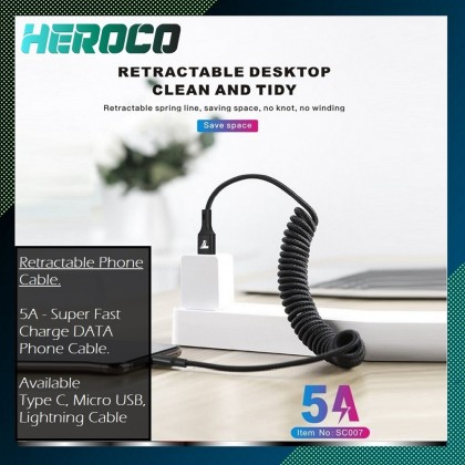 5A Retractable Spring Phone Cable Type C Micro USB Magnetic Usb Charging Cable for iPhone Android phones