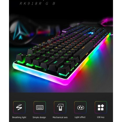RGB Backlight Mechanical Gaming Keyboard ROYAL KLUD RK918  Macro Programming 7 Color Effect Wired Game keyboard