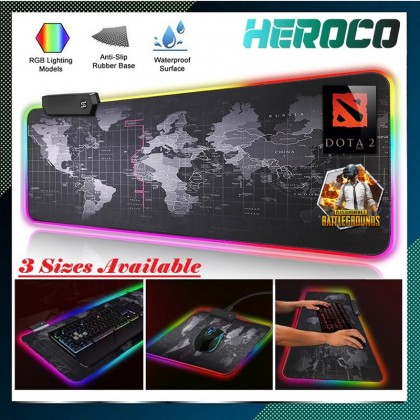 RGB Lighting Gaming Mouse Pad Waterproof Usb Anti Slip LED Mousepad (3 Sizes Available)