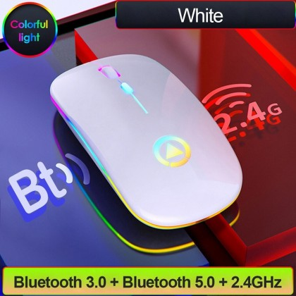 Bluetooth Rechargeable Mouse Wireless Silent LED Backlit Mice USB Optical Ergonomic Gaming Mouse Laptop Computer Mouse