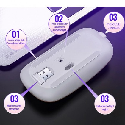 Rechargeable Mouse Wireless Silent LED Backlit Mice USB Optical Ergonomic Gaming Mouse PC Laptop Computer Mouse