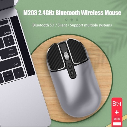 Bluetooth 5.1+2.4G Wireless Dual Mode Rechargeable Mouse Optical USB Gaming PC Mouse  for Mac ipad Android