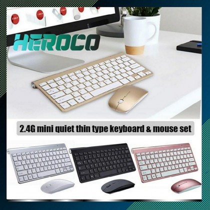 2 in 1 Wireless 2.4GHz Connection Ergonomic Mouse Keyboard Combo Set For Desktop PC Slim Thin Design Battery Included