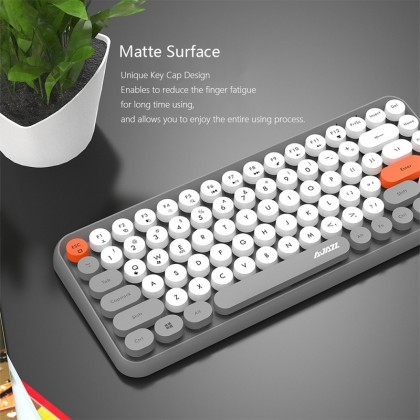Ajazz 308i Wireless Bluetooth Keyboard Round Key Cap Gaming Keypad with 84 Keys for iPhone/An-droid/Windows Systems