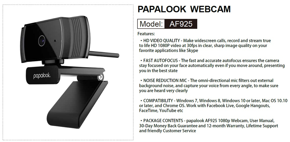 PAPALOOK AF925 USB 2 0 Web Cam Camera Built-in MIC Autofocus for PC